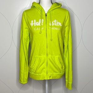 NWT Hollister full-zip logo hoodie lime L
